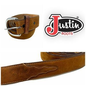 Justin Western Belt Men's Sz 52 Top Grain Leather